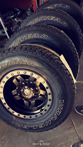 """Brand new 15"""" Chevy 6 bolt fuel rims and tires"""