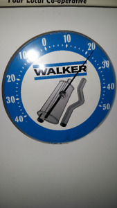 VINTAGE WALKER MUFFLERS AND PIPES THERMOMETER SIGN;