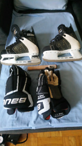ADULT CCM HOCKEY SKATES AND BAUER GLOVES