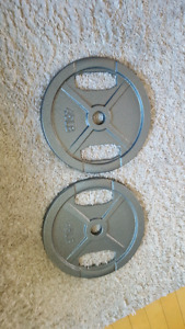 Two Olympic standard 45lb weight plates  $60