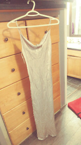 Size 2 long formal silver dress