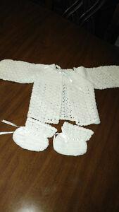Ensemble bébé crochet vintage (blanc)