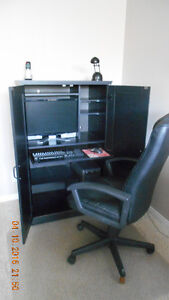 computer cabinet and office chair