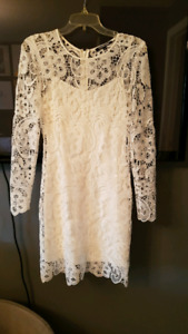 Embroidered white long sleeve dress (size 2)