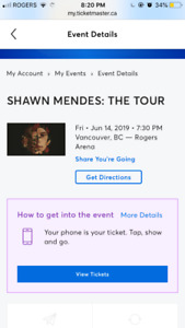 Shawn Mendes Tickets Vancouver June 2019 Row 9 Seat 1 & 2