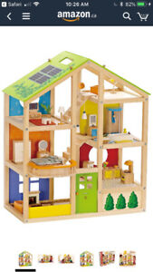 Hape wood doll house with accessories