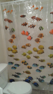 Fish patterned shower curtain