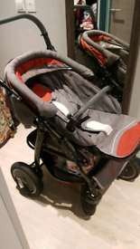 Tomas Pram travel system - Pushchair and Car seat, swing wheels, used