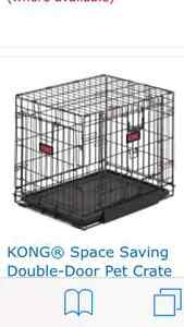 "DOG CRATE 42"", dbl door, space saving style, brand new."
