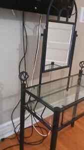 Black vanity with mirror metal bar