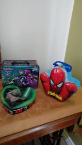 Boite en métal de Collection ,YODA. SPIDERMAN,et POKEMON