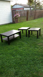 Ikea coffee table and end tables