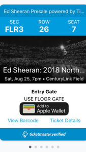 Ed Sheeran Seattle 2 floor tickets for Sept 25!