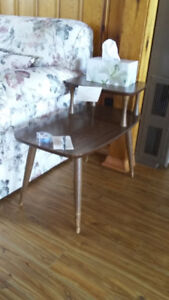 Antique Mid Century 2 Tier Step Back End Table