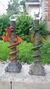 "Dragon Figurines with hidden DAGGERS 10"" long"