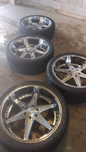 24' Chrome Dub Rims with tires