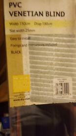 Black venetian blind