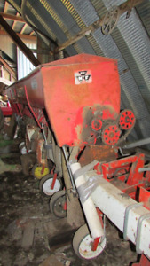 """MF 8 row scuffler on 22"""" rows with seed box for cover crops"""