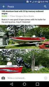 14 ft aluminum boat with mercury outboard
