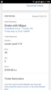 selling tickets for drakes and migos for friday