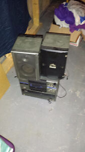 lot of speakers and a computer screen