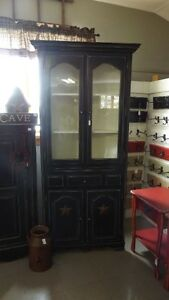 Antique Black Corner Cupboard