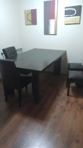 Dining table with glass center