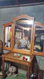 Large real oak wood mirror