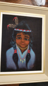 Vintage First Nation Boy Velvet Painting 1967  In Good condition