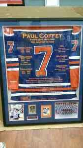 Paul Coffey signed framed Oilers career jersey