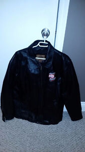Men's Large Black Leather Jacket With Hockey Logo