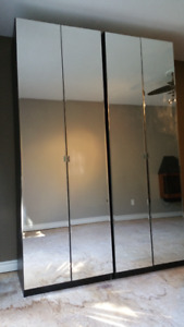 IKEA PAX WARDROBES WITH FOUR BEVELED MIRROR DOORS