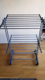 Sturdy clothes drying rack on wheels