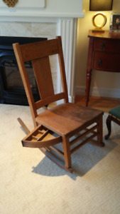 Antique Oak Sewing Rocking Chair