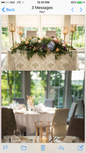 Gold Wedding Centrepieces. Candle holders.Wedding Reception.