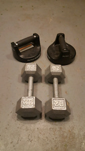 Exercise equipment (dumbbells, perfect pushup stands)