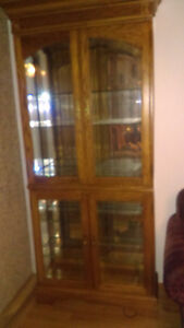 Oak China cabinet/curio cabinet with light