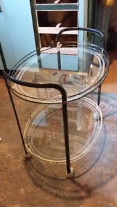 Mid Century Modern 1960 Glass Top Cocktail Server rolling table