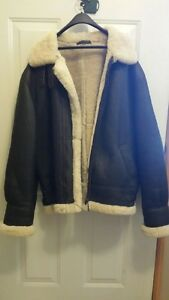 3XL Brown leather bomber jacket