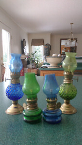 Set of 4 Miniature Blue & Green Oil Lamps