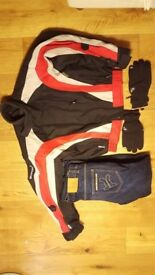 Mens motorcycle jacket , Reinforced jeans and winter padded gloves