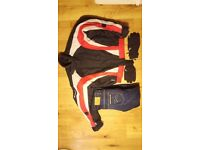 Mens large motorcyle jacket , Reinforced jeans and winter padded gloves