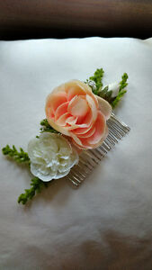David's Bridal flowery hairpiece