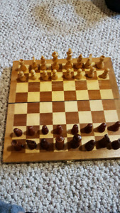 Wooden travel chess board