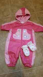 Fall fleece lined suit with mittens
