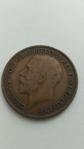1914 British Large One Penny Coin - George V Kitchener / Waterloo Kitchener Area image 2