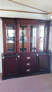 Solid wood display case, glass doors upper, wood doors & drawers Sarnia Sarnia Area image 1