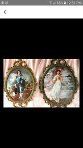 REDUCED PRICE TIDAY ONLY. Vintage convex glass and brass frame