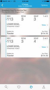 Nickleback tickets sept 28 sect 113 row 4 seats 3 and 4