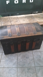 Antique Wood Slat Metal Inlay Trunk Chest NEW PRICE